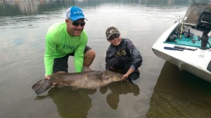 Brent Chapman and son catch a 51 lb. catfish