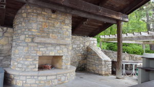 The Yacht Club shelter sports a new stone fireplace.