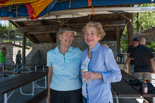 Margie Braun (left) reconnects with  former Quivira friend  and neighbor, Pat Wahlstedt. Photo by Leslie Treas