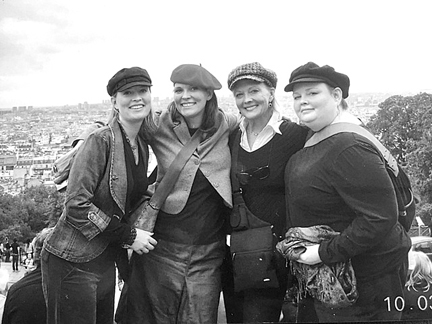 (l to r) Quiviran Whitney (Thomas) Sojka, Alexis Thomas, Cheryl Thomas-Miller (the girls' mother), and Paige Thomas, overlooking the skyline from the Sasre Coeur Basilica in Paris.