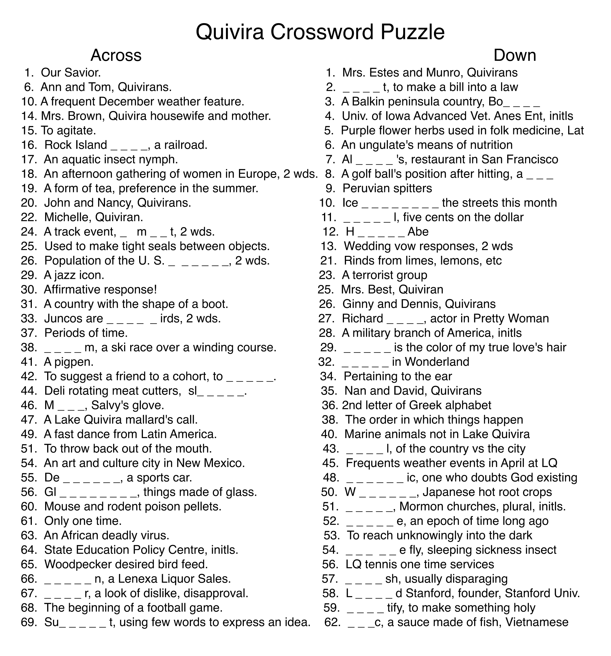 A Crossword Puzzle Just For Lake Quivira By Bob Lee U2013 December 2016 Sc  1 St The Quiviran. Lake Crossword Clue   Pieces Of Living Room Furniture Crossword