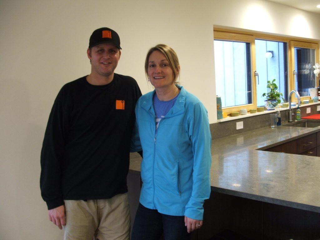 David and Katie Schleicher in their retrofit passive home on Hillcrest West.