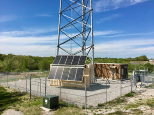 This Cube installation, solar panels deployed, sits north of Liberty, MO