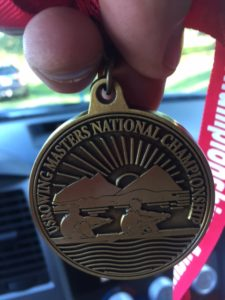 Bob had no pictures of himself at Nationals. But he did text this picture of his medal to his wife, Nancy, on his way home.