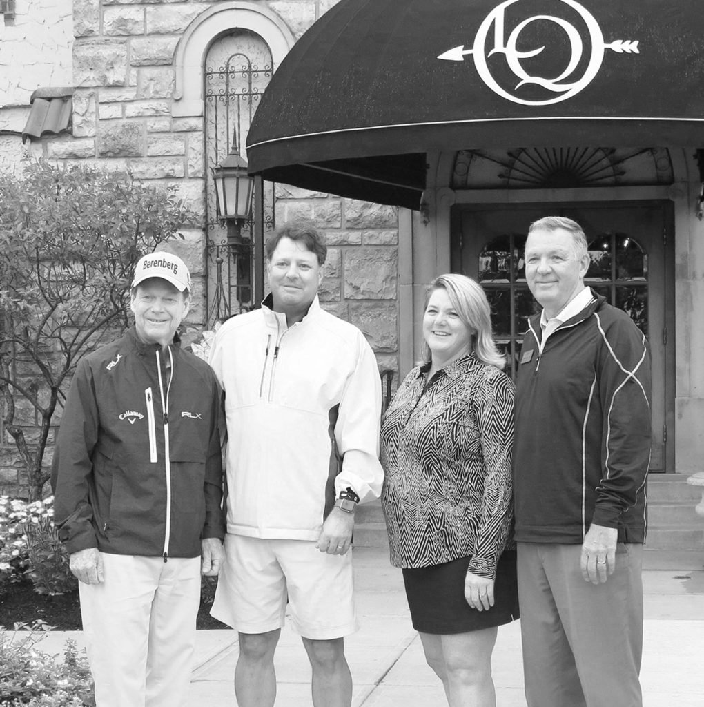 (left to right) Tom Watson; Tony Tappan, Vice President, The First Tee of Greater Kansas City;  Brigette Chirpich, Executive Director, The First Tee of Greater Kansas City; Tom Aikmus, Head Golf Professional, Lake Quivira Country Club