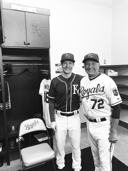 """Dave White (right) sporting his """"home"""" uniform; son David, his """"away"""" uniform; each sporting excited smiles of anticipation. Each had their uniforms--even bats--signed by the likes of Cookie Rojas and Dennis Leonard."""