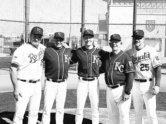 (L to R) Mike McFarland, Dave White, David White, Cookie Rojas and Lee Norman, dressed in their MLB finest.